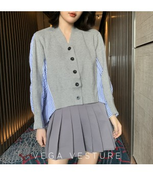 VEGA VESTUER Knit Splice Shirt-Grey