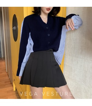 VEGA VESTUER Knit Splice Shirt-Blue