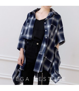 VEGA VESTUER Detachable Lattice Shirt-Blue