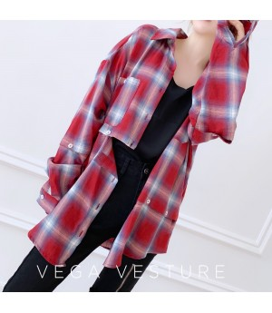 VEGA VESTUER Detachable Lattice Shirt-Red