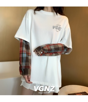 VEGA VESTUER Lattice Fake Two Piece Reflective T-Shirt-White