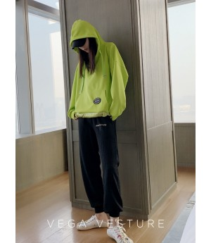 VEGA VESTUER Three Color Ribbon Hoodie-Green