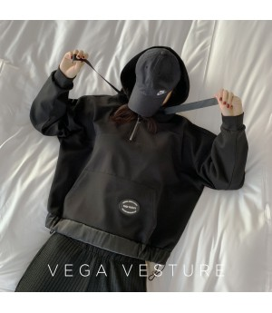 VEGA VESTUER Three Color Ribbon Hoodie-Black