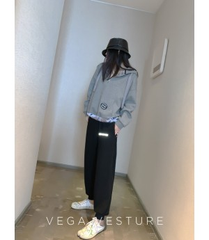VEGA VESTUER Three Color Ribbon Hoodie-Grey