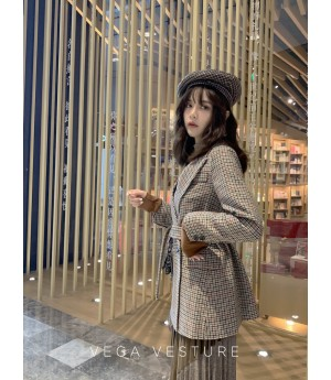 VEGA VESTUER Khaki Lattice Wool Coat
