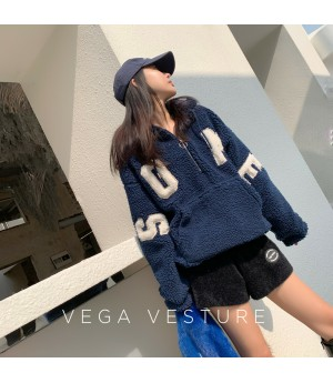 VEGA VESTUER Flocking Letter Lambswool Coat-Blue