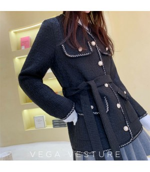 VEGA VESTUER Pearl Button Coat-Black