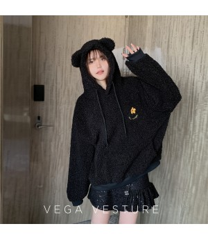 VEGA VESTUER Teddy Bear Flower Hoodie-Black