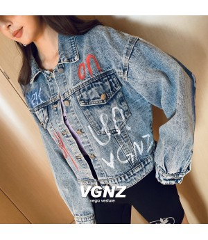 VEGA VESTUER Graffiti Jeans Coat-Blue
