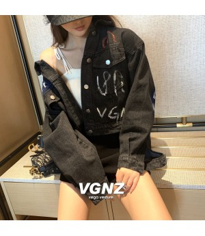 VEGA VESTUER Graffiti Jeans Coat-Black