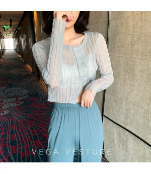VEGA VESTUER Breathable Thin Knit Shirt-Grey