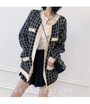 VEGA VESTUER Wool Lattice Cardigan-Black