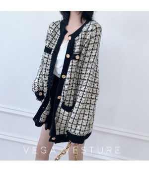 VEGA VESTUER Wool Lattice Cardigan-Apricot