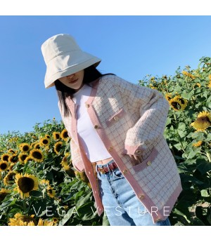 VEGA VESTUER Wool Lattice Cardigan-Pink