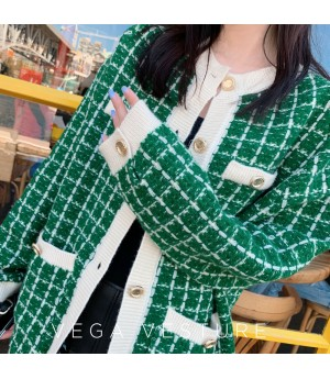 VEGA VESTUER Wool Lattice Cardigan-Green