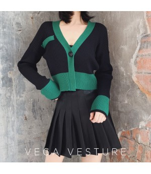 VEGA VESTUER Multicolor Cardigan-Green