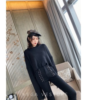 VEGA VESTUER Tassel Broken Edge Sweater