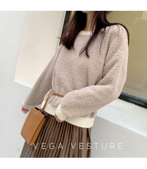 VEGA VESTUER Granular Velvet Warm Sweater-Light Brown