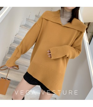 VEGA VESTUER Lapel Wool Sweater-Yellow