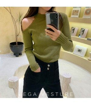 VEGA VESTUER Off-Shoulder Wool Shirt-Green