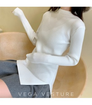 VEGA VESTUER Split Wool Sweater-White
