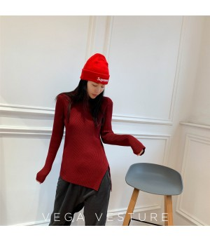 VEGA VESTUER Split Wool Sweater-Red
