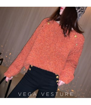 VEGA VESTUER Gold Buckle Mohair Sweater-Orange