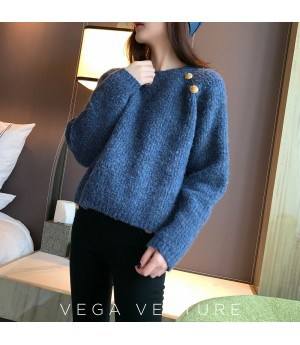 VEGA VESTUER Gold Buckle Mohair Sweater-Blue