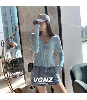 VEGA VESTUER Daisy Knit Top-Blue