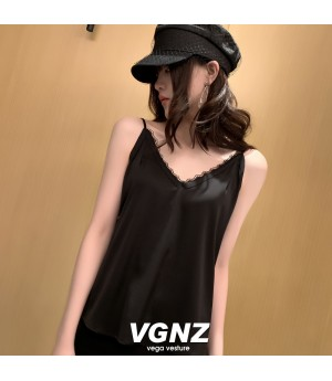 VEGA VESTUER V-Neck Silk Vest-Black