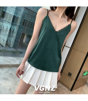 VEGA VESTUER V-Neck Silk Vest-Green