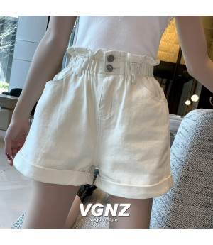 VEGA VESTUER Double Buckle Bud Jeans Short-White
