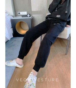 VEGA VESTUER Fluorescence Beam Port Leisure Pants-Black