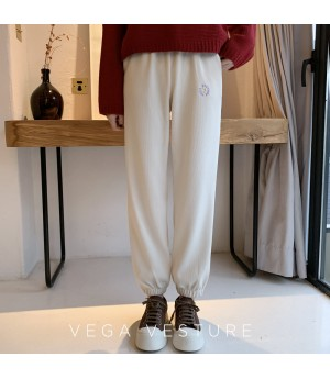 VEGA VESTUER Flower Leisure Pants-Apricot