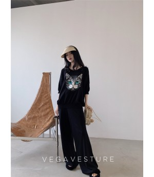 VEGA VESTUER Owl Silk Two-Set-Black