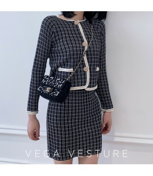 VEGA VESTUER Lattice Knit Two-Piece-Black