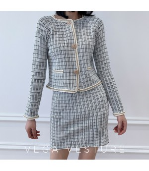 VEGA VESTUER Lattice Knit Two-Piece-Grey