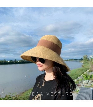VEGA VESTURE Foldable Straw Hat-Brown