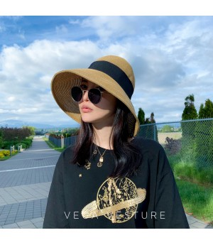 VEGA VESTURE Foldable Straw Hat-Black