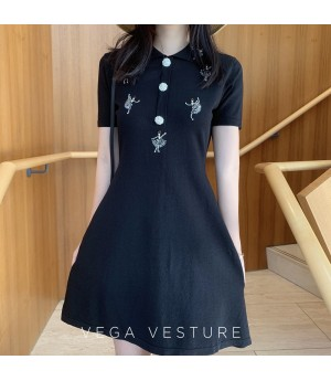 VEGA VESTUER Ballet Pearl Dress-Black