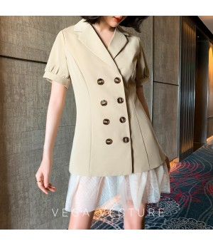 VEGA VESTUER Khaki Splice Silk Suit Dress