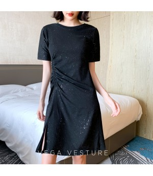 VEGA VESTUER Wrinkle Starry Sky Dress-Black