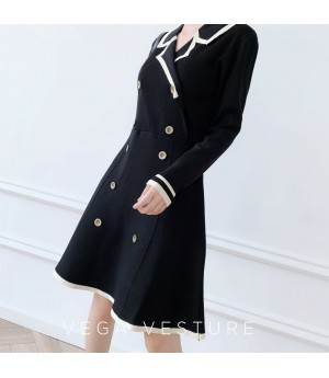 VEGA VESTUER Chanel Style Long Sleeve Knit Dress-Black