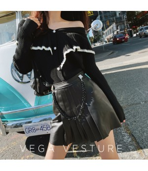 VEGA VESTUER Detachable Chain Leather Skirt-Black