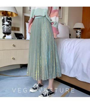 VEGA VESTUER Fairy Hundred Wrinkle Silk Skirt-Green