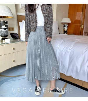 VEGA VESTUER Fairy Hundred Wrinkle Silk Skirt-Gery