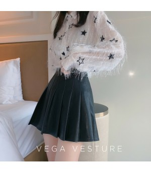 VEGA VESTUER PU Hundred Wrinkle Skirt-Black