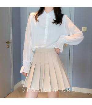 VEGA VESTUER PU Hundred Wrinkle Skirt-Rice Color