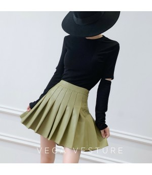 VEGA VESTUER PU Hundred Wrinkle Skirt-Green
