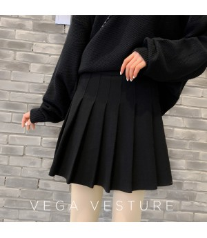 VEGA VESTUER Hairy Wrinkles Skirt-Black